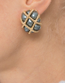 Grey Pearl Quilted Rectangle Clip Earrings