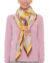Firenze Melon and Yellow Silk Cashmere Scarf