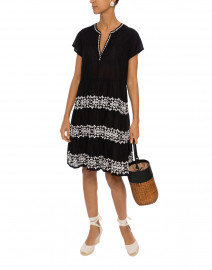 Pamela Black Embroidered Cotton Dress