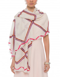 Fresh Space Multicolored Striped Ivory Cashmere Scarf