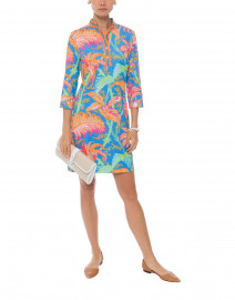 Palm Palm Blue and Orange Print Jersey Dress
