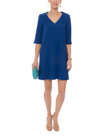 Naron Blue Stretch Crepe Dress with Sleeve Detail