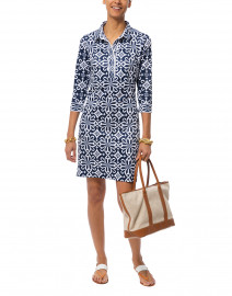 Navy Piazza Printed Jersey Henley Dress