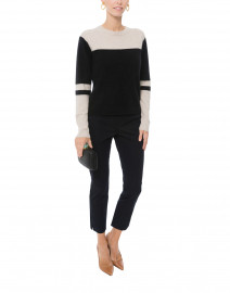 Sarnai Black and Ivory Tie Back Cashmere Sweater