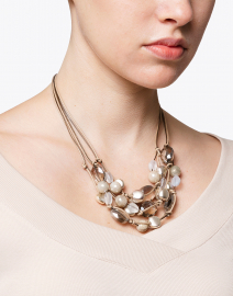 Light Topaz and Silver Bead Necklace