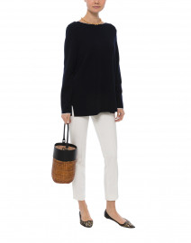 Arles Navy Wool Sweater with White Piping