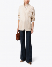 Sand Cashmere Cable Knit Cardigan