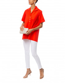 Betty Red Short Sleeve Button Down Stretch Cotton Shirt