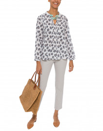 Bennet Wei White and Black Paisley Printed Cotton Top