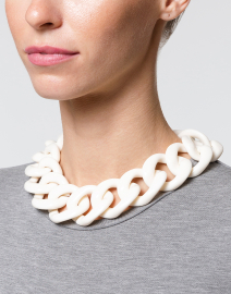 Ana White Resin Link Necklace