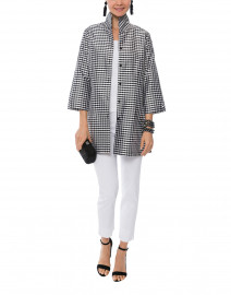 Rita Black and White Gingham Silk Top