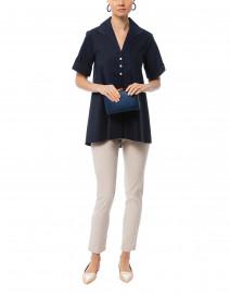 Betty Navy Short Sleeve Button Down Stretch Cotton Shirt