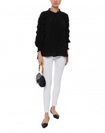 Black and White Polka Dot Silk Blouse