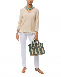 Beige and White Marled Linen Cotton Sweater
