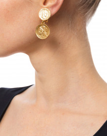 Gold Two Tier Coin Drop Earrings