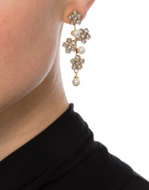 Crystal, Pearl, and Gold Flower Drop Earring