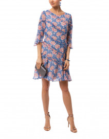 Blue and Pink Floral Printed Dress