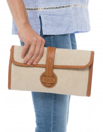 Adrian Brown Linen and Leather Clutch