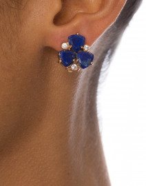 Blue Lapis Cluster Stone Clip On Earrings