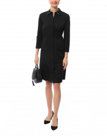 Juniper Black Cotton Stretch Shirt Dress