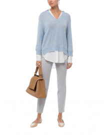 Sky Blue Sweater with White Underlayer