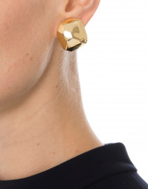 Polished Gold Sculpted Clip Earrings