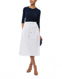 White Gabardine Stretch Cotton Skirt
