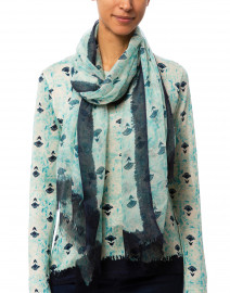 Aqua and Indigo Floral Silk and Cashmere Scarf