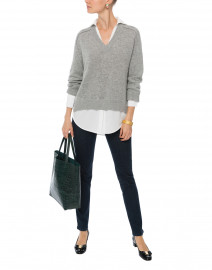 Dove Grey Sweater with White Underlayer