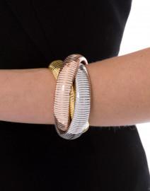 Triple Gold, Rhodium and Rose Gold Cobra Bracelet
