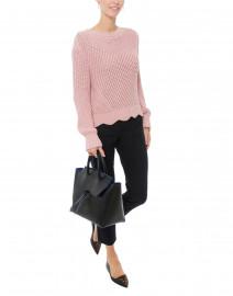 Ariella Pink Cotton Textured Sweater