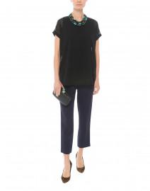 Oana Black Jersey Top with Chiffon Overlay