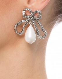 Pearl Drop Bow Earrings