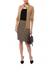 Beige Leopard Printed Knit Skirt