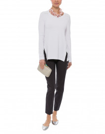 Oliver White Jersey Tunic with Leather Trim