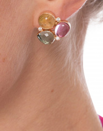 Pink and Green Tourmaline with Citrine Earrings
