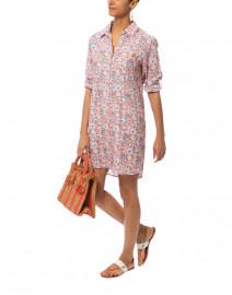 Tishka Coral and Teal Floral Printed Linen Shirt Dress