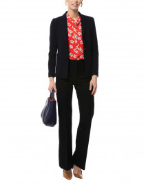Red Floral Printed Silk Blouse