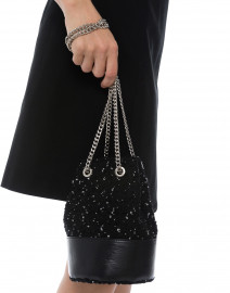 Cylia Black Speckled Tweed Bucket Bag