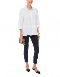 White Sparkle Trim Button Down Stretch Cotton Shirt