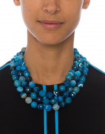 Blue Beaded Agate Necklace