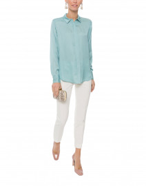 Ice Green Stretch Silk Button Down Shirt