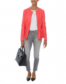 Lumia Coral Drawstring Waist Leather Jacket