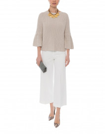 Ivory Crepe Wide Leg Pull-On Ankle Pant