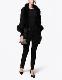 Black Wool Cashmere Fur Trim Wrap