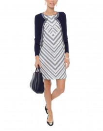 White and Navy Diagonal Striped Cotton Pique Dress
