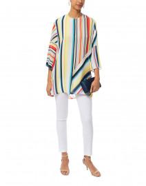 Yasmina Eames Multi Colored Striped Silk Tunic