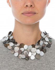 Grey Mother of Pearl Cluster Necklace