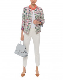 Monica Multicolored Cotton Linen Jacquard Jacket
