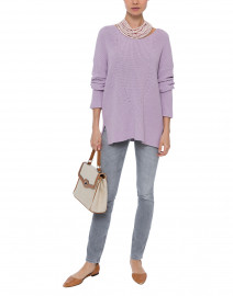 Lavender Ribbed Cotton Sweater